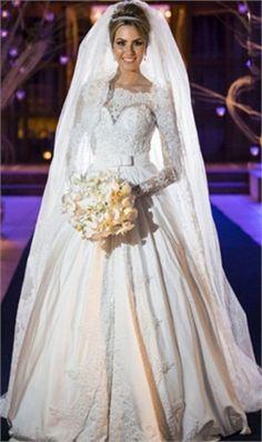 Vestido De Noiva Princesa Off the Shoulder Applique Long Sleeve Lace Wedding Dresses Robe De Mariage Sexy Vestido De Casamento