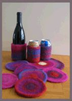 Free Pattern for Knitted and then Felted Round Coasters, Beverage Jackets (Wine and Water Bottles), and Round Hotpads - Great Stash Busters - Knitting at KNoon Designs