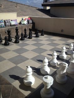 Giant chess game outside