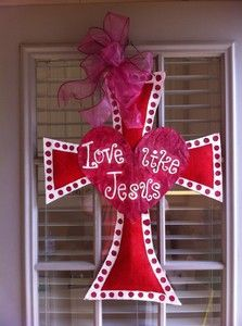 "valentine decorations with burlap | New Valentine's ""Love Like Jesus"" Burlap Cross Door Decoration 