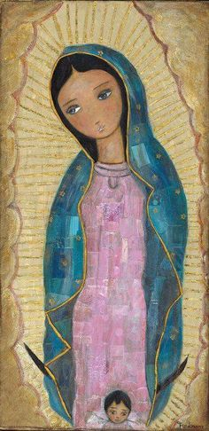 Our Lady of Guadalupe with Angel by Flor Larios Art Print by florlariosart Religious Images, Religious Icons, Religious Art, Madona, Mama Mary, Blessed Mother Mary, Mary And Jesus, Catholic Art, Mexican Folk Art