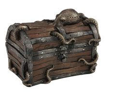 Octopus Cracked Treasure Chest Trinket Box Statue Nautical Sculpture