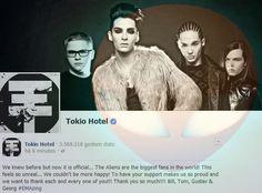 Sabíamos antes, mas agora é oficial... Os Aliens são os maiores fãs do mundo! Isto parece tão irreal... Não podíamos estar mais felizes! Ter o vosso apoio nos deixa tão orgulhosos e queremos agradecer a cada um de vocês!!! Muito obrigado!!! Bill, Tom, Gustav Georg   Read more: http://tokiohotelhysteriapt.blogspot.pt/2013/11/facebook-twitter-tokiohotel-10112013.html#ixzz2kLQJ1oKy