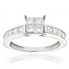 Luxurman 14k Gold 2 1/4ct TDW Princess-cut Diamond Engagement Ring (G-H, SI1-SI2) (14k White Gold Size 7), Women's (solid)