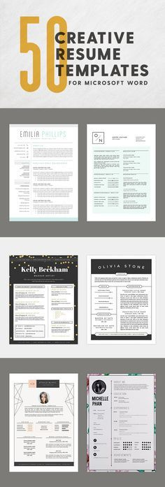 WORK 50 innovative, artistic Microsoft Word resume templates that can be customized with a variety of fonts, colors, and formatting changes.
