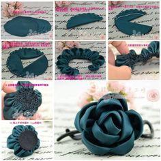 hacer flores de tela con pétalos plegados