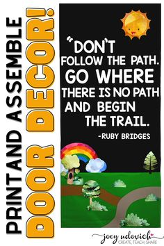 Welcome your students to the classroom or school with this beautiful and inspiring door decoration set. This digital download provides you with everything you need to print and create this amazing door or bulletin board. With the quote by Ruby Bridges, you can use this as part of Black History Month, Women's History Month, or any time of the year! #JoeyUdovich #ClassroomDecor #BlackHistoryMonth #WomensHistoryMonth #Elementary #MiddleSchool #HighSchool Middle School Classroom, Classroom Door, Back To School, Women's History, Black History, School Themes, Classroom Inspiration, Elementary Teacher, Board Ideas