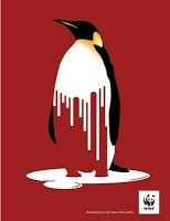 ERIC In this poster, the designer uses closure, figure and ground of the Gestalt principles to make it impressive. This penguin is bleeding, and the white colour is fading. The white colour not only represents the life of penguin, but also means the ice. The global warming causes these issues, and the penguins are dying when the ice becomes the river. The red background could also be considered as the blood of these animals.