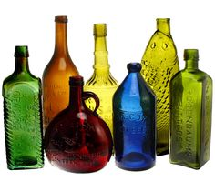 Hitting Hobby Lobby today… changing all my shampoos/cond/body washes…Storing them in decorative bottles… Very appealing…. Colored Glass Bottles, Antique Glass Bottles, Colored Vases, Vintage Bottles, Bottles And Jars, Glass Jars, Decorative Bottles, Empty Bottles, Genie Bottle