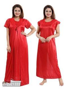 Women's designer Satin 2 pc Nighty With Robe Girls Night Dress, Night Gown, Lingerie Drawer, Trendy Fashion, Womens Fashion, Indian Beauty Saree, Bridesmaid Dresses, Wedding Dresses, Beautiful Indian Actress