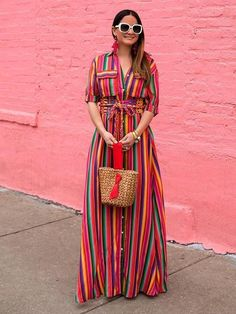 maxi button down dress striped colorful multi stripes long dress bohemian gypsy hippie dresses. Get by code:sunifty till this weekend Maxi Shirt Dress, Striped Shirt Dress, Striped Maxi Dresses, Vintage Outfits, Mode Hippie, Bohemia Dress, Indie, Maxi Robes, Grunge