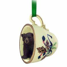 Bear Black Teacup Green Ornament