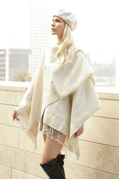 Classic Women's Poncho in Creme – shop.gifts.com