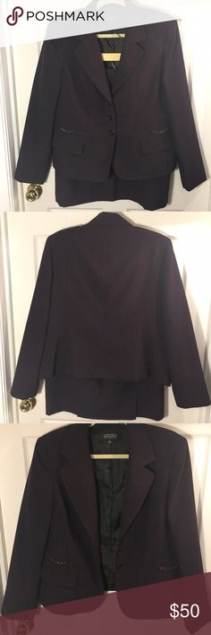 Deep eggplant skirt suit, Kasper Deep eggplant color, with a couple black accent. Kasper is a classic suit company that makes great business suits. This suit is my LUCKY interview suit. It's been worn three times and has a 100% success rate. Kasper Jackets & Coats Blazers