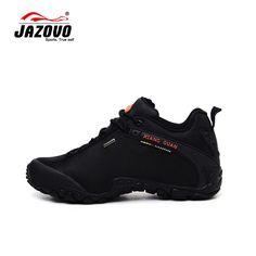 JAZOVO 2016 Hombre Impermeable y Transpirable Senderismo Zapatos Tamaño Grande Al Aire Libre Botas de Trekking Zapatos de Deporte Zapatillas de deporte de Los Hombres A Prueba de agua Negro