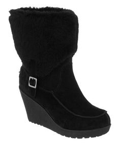 Take a look at this Black Suede Flatbush Fold-Over Wedge Boot - Women by BEARPAW on #zulily today!