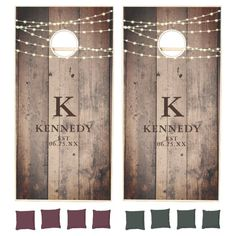 Rustic Weathered Wood Lights Monogram Family Name Cornhole Set - tap to personalize and get yours #CornholeSet #rustic, #weathered #wood, #fairy #string Weathered Wood, Rustic Wood, Wood Lights, String Lights, Old Fashioned Games, Cornhole Game Sets, Cross Beam, Family Fun Night, Corn Hole Game
