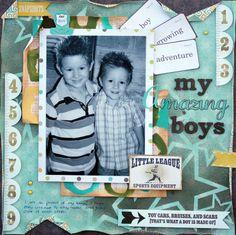 """My Amazing Boys"" layout created by Renee Aslette. http://www.reneeaslette.blogspot.com.au/"