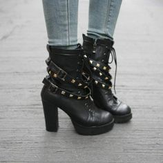 Punk Style Cool Strap Rivet High-heeled Bootie