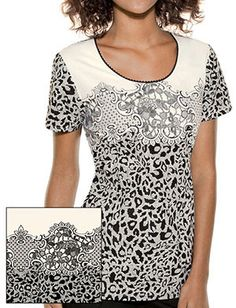 Tafford Uniforms - Baby Phat Lace It Up Round Neck Scrub Top