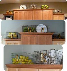 What to do above the kitchen cabinets --> My Suite Bliss: Kitchen Baskets Kitchen Backsplash Photos, Kitchen Soffit, Kitchen Redo, Kitchen Design, Kitchen Ideas, Kitchen Remodelling, Kitchen Updates, Kitchen Shelves, Kitchen Tips