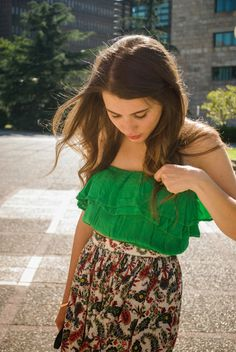 Your Outfit Today » Green crop top on maxiskirt, August 26 2014