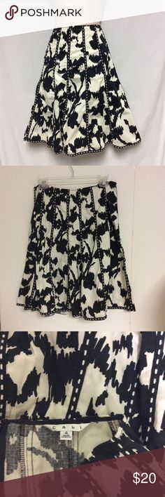 CABI SKIRT BLACK AND WHITE CAbi black and white skirt size 4. Measurements are 22 length .Sorry no trades. CAbi Skirts