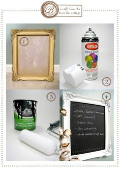 DIY Chalkboard Frame -- for table seating, or maybe a dessert board! ... the best part is you can reuse it in your home/office