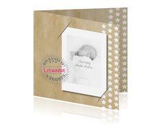 Geboortekaart met sterren en foto op karton met stempel