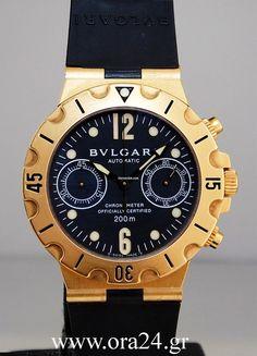 Bulgari Diagono Scuba Chronograph 18k Yellow Gold Box&Papers $7,428 #watch #chronograph #watches Yellow gold