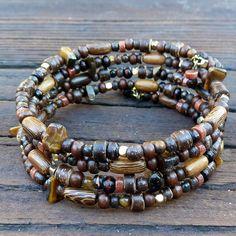 Brown Memory Wire Bracelet - Tigereye Beads, Wood Beads, 4x Wrap Bracelet. $15.00, via Etsy.