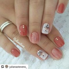 16 Stunning Nail Art Trend Ideas for - Nageldesign - Nail Art - Nagellack - Nail Polish - Nailart - Nails - Fall Gel Nails, Spring Nails, Autumn Nails, Summer Nails, Fall Nail Art Autumn, Cute Fall Nails, Fancy Nails, Pretty Nails, Sparkle Nails