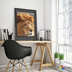 Lion Print, Safari Baby Shower Animal, Nursery Decor, Boys Room Wall Art, Printable Large Poster, Digital Download, Kids Room Decor