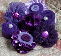 Petaloo - Expressions Collection - Mini Fabric Flowers - Purple at Scrapbook.com $5.99