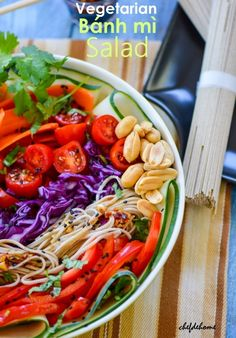 A delicious, healthy and gluten free take on Asian Classic - Bánh mì. This salad is loaded with fresh crunchy vegetables, lite and gluten free Buckwheat Soba Noodle with Sweet and Spicy Chili-Garli...