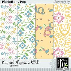 Layered Papers 2 CU Digital Scrapbooking Supplies by Kathryn Estry @ PickleberryPop $5.49