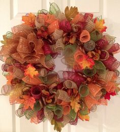 Curly Fall Deco Mesh Wreath by CreativeTwists1 on Etsy, $55.00