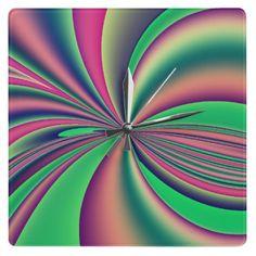 Bright fractal colourful design square wall clock