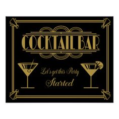 ART Deco Cocktail bar sign 1920's Gatsby Party Poster