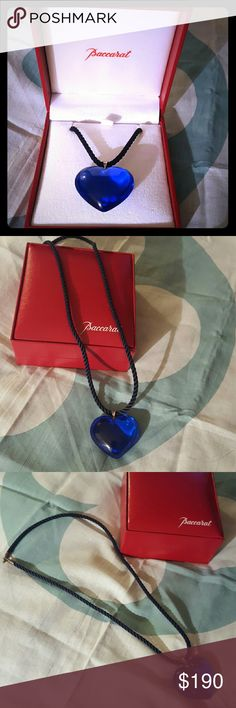 BACCARAT NECKLACE Baccarat Blue Crystal love Romance Heart Pendant,  black cord necklace. Sterling silver Bale and clasp. Original box is included!! Baccarat  Jewelry Necklaces