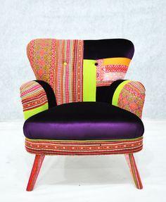 Patchwork armchair with Thai Hmong fabrics. $1,600.00, via Etsy.