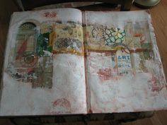 Art journal spread: the beauty of textural space. I need to work on not filling up every inch with images...