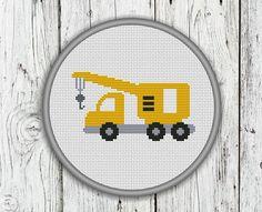 Mobile Crane Construction Trucks Vehicles by CrossStitchShop