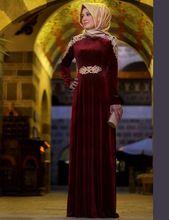 Charmoso Elegante Manga Longa Dark Red Velvet Muçulmano Kaftan Rendas Veludo Formais do Baile de Finalistas do Vestido de Noite 2017 Borgonha Malásia ME7(China (Mainland))