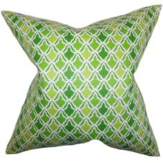 This lovely geometric pillow enhances the look of your interiors. Decorated with a unique pattern in shades of green and white, this square pillow is visually appealing and energetic.