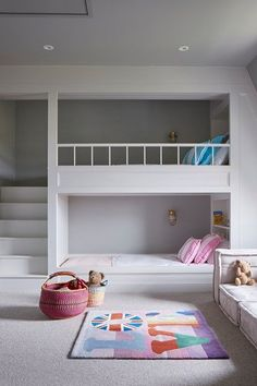 Built-in Bunk Beds in Kids& Bedroom Ideas on HOUSE by House & Garden. Fun id. Built-in Bunk Beds in Kids& Bedroom Ideas on HOUSE by House & Garden. Fun ideas for kids& bedrooms that don& scrimp on style Bunk Beds Built In, Bunk Beds With Stairs, Kids Bunk Beds, Built In Beds For Kids, Bunk Bed Ideas For Small Rooms, Childrens Bunk Beds, Bed Ideas For Kids, Small Childrens Bedroom Ideas, Childrens Bedrooms Shared