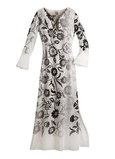 Long Silver Peony Caftan from CALM NYC