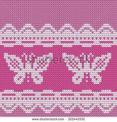 knitted seamless pattern butterflies: купите это векторное изображение на Shutterstock и найдите другие изображения.