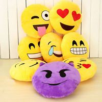 "13"" Cute Emoji Emoticon Yellow Stuffed Cushion Pillow Round Plush Soft Toy Doll"