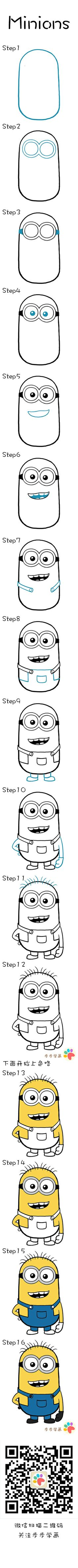 Learn how to draw Minions. I love Minions Drawing Lessons, Drawing Techniques, Drawing Tips, Art Lessons, Painting & Drawing, Drawing Drawing, Rock Painting, Drawing For Kids, Art For Kids